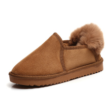 2017 new women Winter snow boots cashmere bunny fur boots plush girl warm ankle casual shoes student flat cotton boots brown