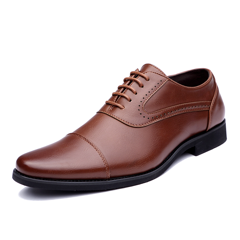 men spring working shoes luxury brand italian eurpean style pointed toe elegant male footwear dress working oxford shoes for men (2)