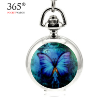 2016 Butterfly Pocket Watch Floating Glass Lockets Necklace Antique Pocket Watch Necklace