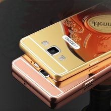 New Case For Samsung Galaxy A3 A5 A7 2015 Old Edition Acrylic Mirror Back Cover Aluminum Metal Frame Phone Bag Housing Fundas(China)