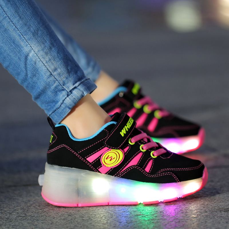 2017 Fashion New Child Fashion Girls/Boys LED Light with wheels Children Roller Skate Shoes Kids Sneakers With Single Wheels<br><br>Aliexpress
