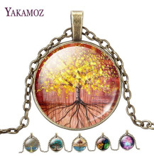 2017 The Tree Of life Dome Glass Pendant Necklaces Women Necklaces Jewelry Vintage Bronze Chain Long Statement Necklaces Gift