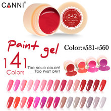 #50618 141 Solide Colors Nail Art Designs CANNI 2017 Hot Sale Soak Off Paint Gel UV LED Ink UV Color Paint Gel Nail Varnish Gel(China)
