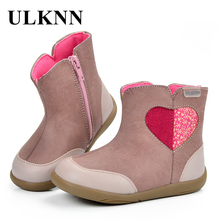 ULKNN Girls Boots Kids Winter Boots Children Spring Autumn Cute Love Hart Pattern Pink Zipper Handmade Sewing Felt bota menina(China)