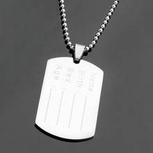 Ayliss 1pc New Style Men Stainless Steel Personalized Engraved Military Army Dog Tag Pendant Necklace Special Gifts