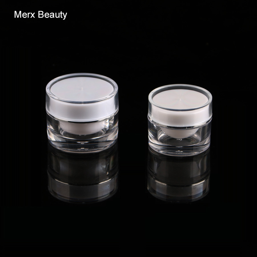 3pcs 10g 20g plastic/acrylic double wall white jar ,round shape cosmetic container,empty cream jar,Cosmetic Jar,Cosmetic Packagi(China (Mainland))