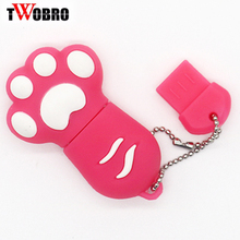 Cat Paw USB Flash Drive 32GB pendrive 64GB Cartoon Key Chain USB Stick 16GB pen drive 8GB 4GB Flash Drive Disk 1GB 2GB Gift(China)