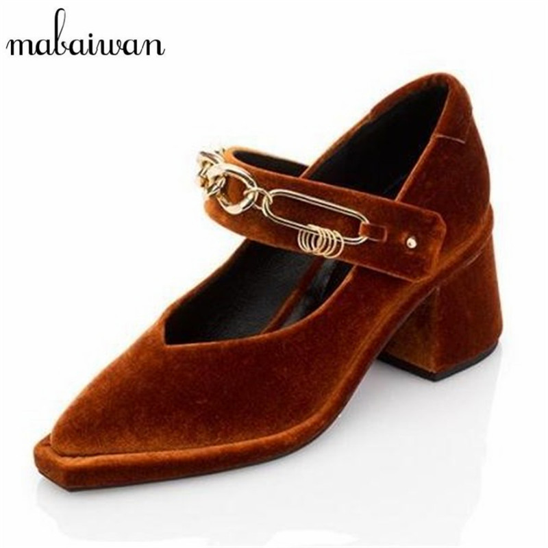 Mabaiwan Velvet  Mary Jane Pointed Toe Women Pumps Sexy Chains Decor Chunky High Heels Prom Dress Shoes Woman Valentine Shoes<br>