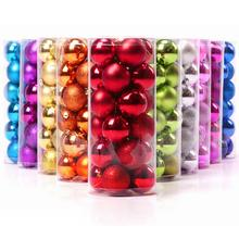 24Pcs New Christmas Tree Xmas Balls Decorations Baubles Party Wedding Ornament 4cm 8 Colors Wholesale(China)