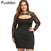 PlusMiss Plus Size 5XL Sexy Lace Cut Out Sheer Dress Women Clothing Long Sleeve Evening Party Club Bodycon Mini Short Dress 2018(China)