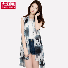 2017 Women Chiffon Floral Printed Scarf Summer Beach Plaid Flower Casual cover up Silk Scarves Dress Sleeveless Wrap Pashmina(China)