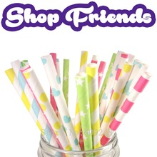 175pcs Mix Colors Shop Friends Party Paper Straws,Blue Yellow Striped,Dot,Heart,Green Hot Pink Star,Sailor Stripe,Girls Birthday