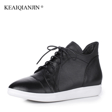 KEAIQIANJIN Woman Platform Ankle Boots Autumn Winter Genuine Leather Martins Bota Black White Lace Up Oxford Chelsea Boots Cheap(China)