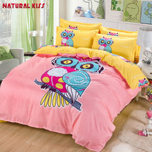 2017 Home Owl cartoon Cotton Queen/full size 4pcs Children Bedroom Bedding sets Duvet cover Quilt Bedding Bed sheet Pillowcase