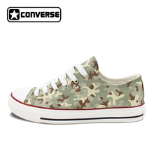 Design Low Top Converse All Star Special Forces Camouflage Pattern Hand Painted Canvas Sneakers Unisex Skateboarding Shoes(China)