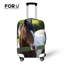 FORUDESIGNS Cool Animal Printing Luggage Cover for 18-30 Inch Case Waterproof Trunk Case 3D Horse Head Elastic Trolley Suitcase
