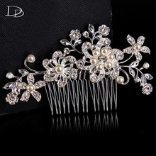 bohemia fashion design luxury simulated flowers bridal comb wedding engagement party dress decoration crystal jewels maxi A004(China)