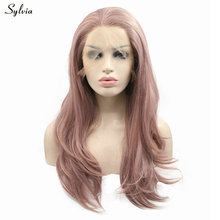 Sylvia Nature Wave Milky Lavender Heat Resistant Fiber Mixed Hair Long 20-24'' Pink Purple Blend Gray Synthetic Lace Front Wig