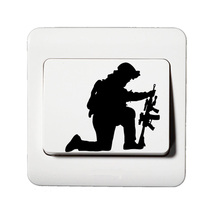 The Soldiers Firing Vinyl Wall Door Light Switch Sticker Home Decor 5WS0301(China)