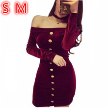 Buy Black Velvet Dress Long Sleeve Autumn Fashion Shoulder Slim Sexy Dresses 2018 Club Gold Buttons Velvet Dress Women for $29.99 in AliExpress store