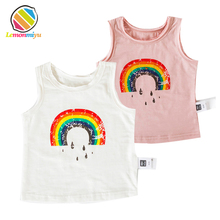 Infant Baby Girls Summer Rainbow Cotton Vest Cute O-Neck Tshirts Boys Kids Slessveless Sports T shirts Top Tees Children Clothes(China)