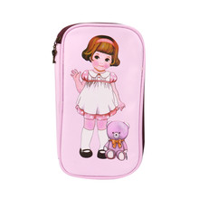 1Pcs Cute Cartoon Retro Doll Women Makeup Bag Girl Pencil Case Creative Doll Pencil Bag Garment Bag For Kids Novelty Item(China)