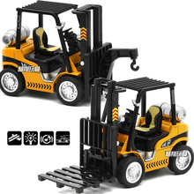 1:24 Diecast Construction Forklift Hoist Model Car Truck Toys With Pull Back Function/Sound/Light/Gift Box For Kids Gifts