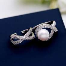 AAA Quality Two Fingers Siamese Open Cross Ring Silver Color Full Pave Premium CZ With Pearl Rings for Women