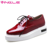 VINLLE 2017 Women Pump Platform White Black Lace Up Shoes Women Casual Shoes Wedges Med Heel Patent Leather Pumps Big Size 34-43