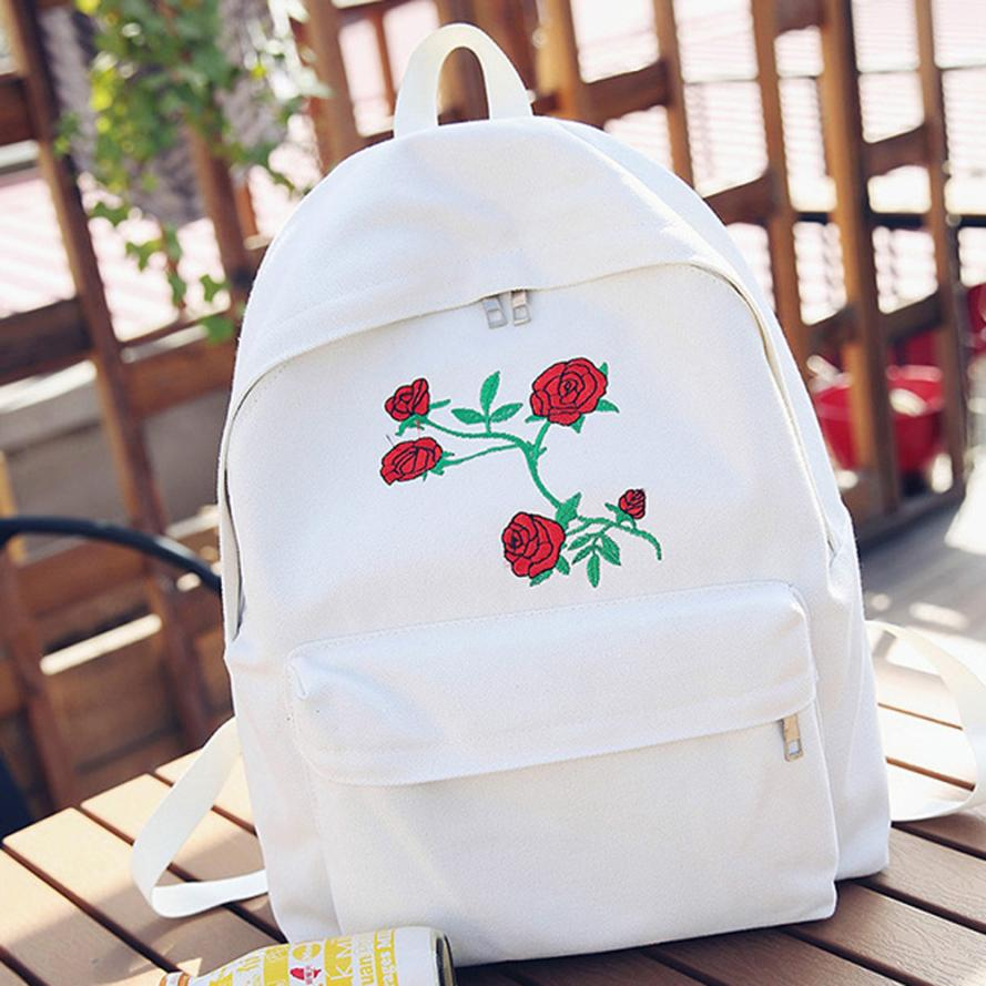Canvas Embroidery Backpack 2017 Women Travel Rose Naivety Bag Flower OCwSAqxv