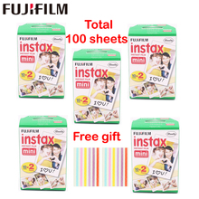 Original 100 Sheet Fujifilm Fuji Instax Mini White Film Instant Photo Paper For Instax Mini 8 70 25 Camera SP-1 SP-2 + Free Gift(China)
