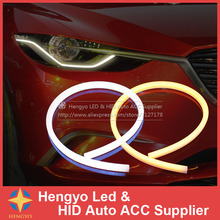 2x60cm White Amber Dual Color Flexible Tube Style Switchback Headlight  Strip Angel Eye DRL Decorative Light For Kia Opel