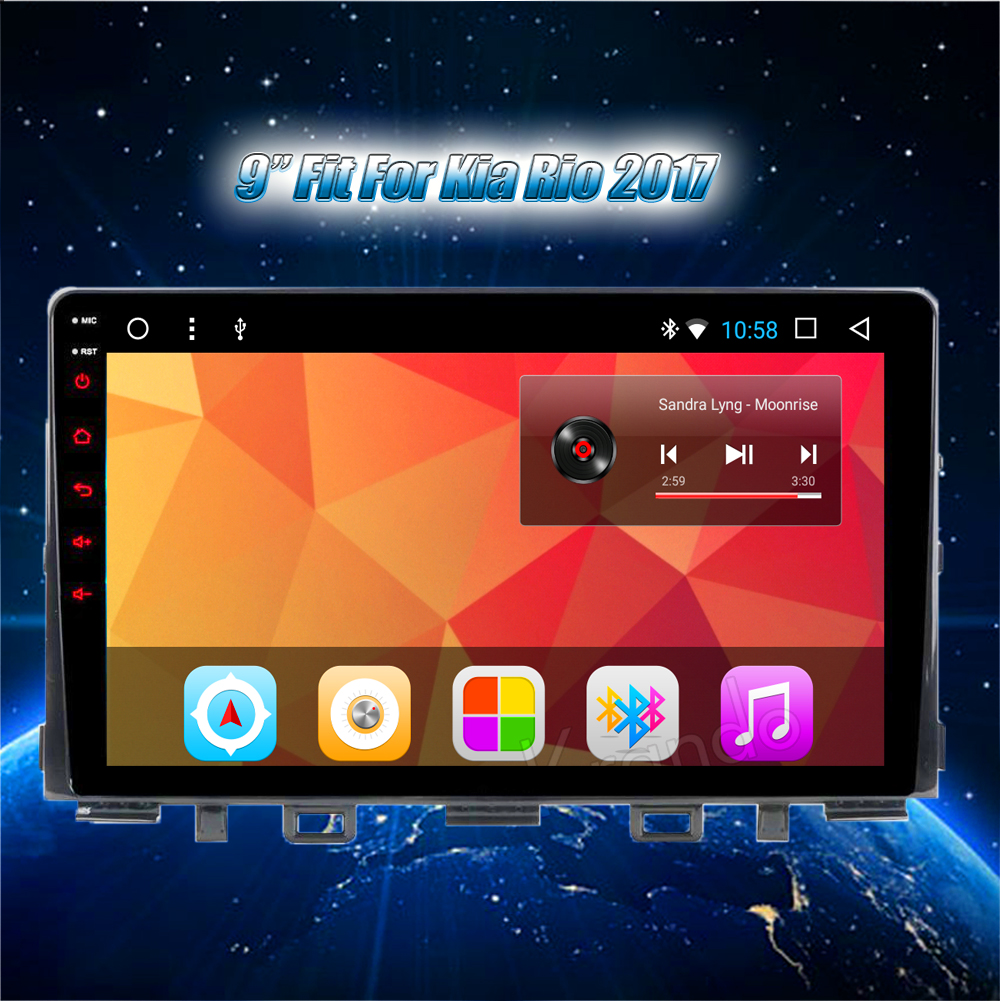 Krando Android car radio gps navigation multimedia system for KIA RIO 2017