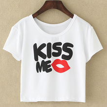 "Women Sexy Exposed Navel Crop Top T-shirt Girls Cute Cartoon Cats Sunflower ""KISS ME\"" Letter Print Basic Stretch T Shirts Tops(China)"