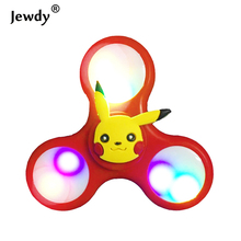 Pokemon Go Cartoon Colors LED Flash Light hand Spinner Tri-Spinner Anti Stress Sensory Fidget Ball Adult Children Key chain