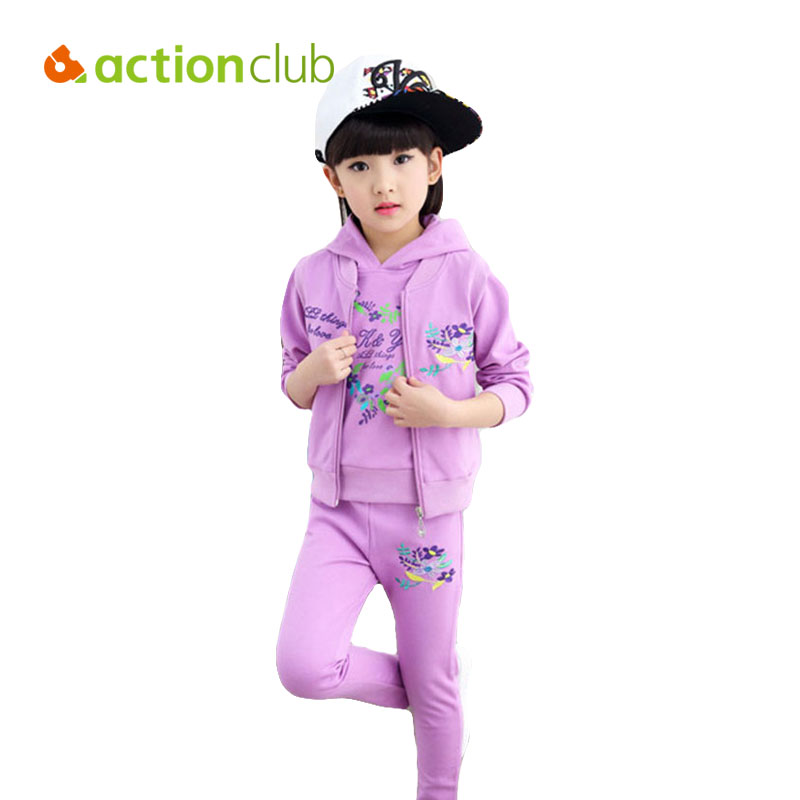 Actionclub 3pcs Girls Long Sleeve Shirt &amp; Pants &amp; Vest Clothing Set Baby Girls Flower Print Shirt Trousers Warm Children Clothes<br>