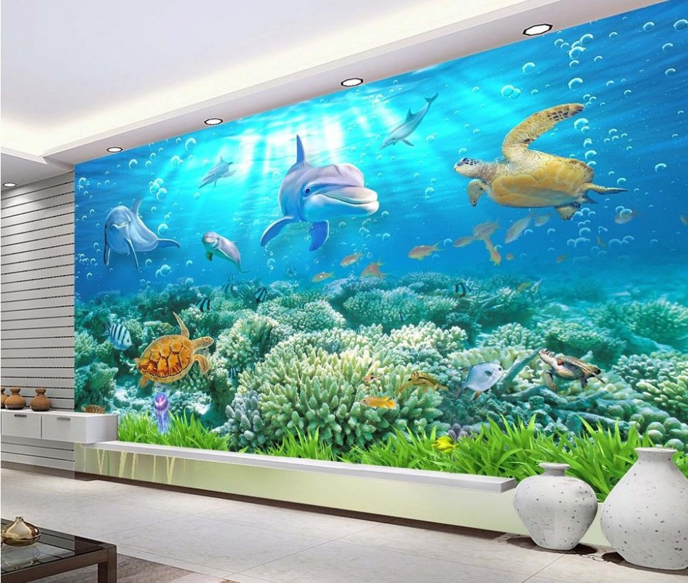 3d wallpaper for room Underwater World Dolphin 3D backdrop of sea turtles photo 3d wallpaper<br>