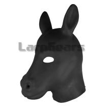 Buy Hot Fetish Latex horse hood head style bdsm bondage gear latex mask fetish wear Headgear sex slave mask hood sex tools