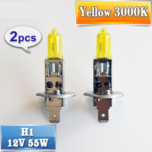 flytop 2 PCS(1 Pair) 12V 55W H1 Halogen Bulb Yellow 3000K Quartz Glass Car HeadLight Auto Light XENON Fog Lamp FREE SHIPPING
