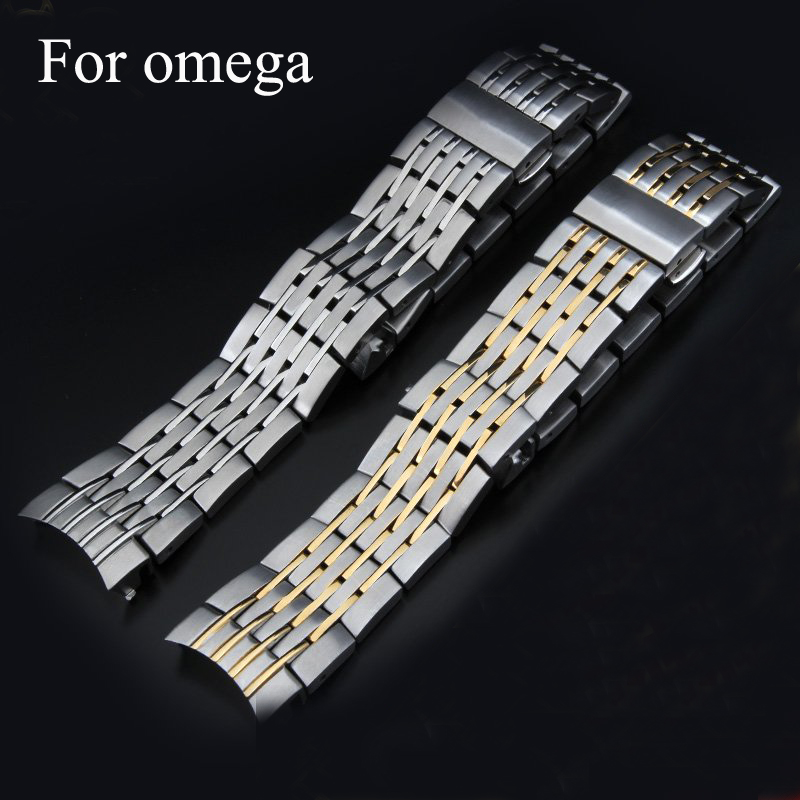 Luxury Brands,20MM Mens full stainless steel butterfly metel Watchband clasp Strap For OmegaWatch Co-Axial Chronoscope With LOGO<br>