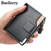 Baellerry 2017 sale Short Wallets PU Brand Men Leather Wallet Men's Card Holder Coin Purse Pockets With Zipper male clutch VK282(China)