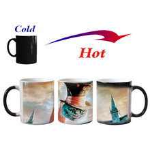 New smile cat animal Heat sensitive Coffee mug ceramic Magic Color changing Tea Cup mugs christmas gift(China)