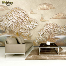 beibehang Custom photo wallpaper wall murals wall stickers luxury gold relief sailboat tree cloud 3d TV wall papel de parede