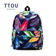 TTOU Fashion Colorful Leaves Printing Anime Canvas Women Men Backpack School Laptop Notebook Bag Teens Girl Casual New Travel(China)