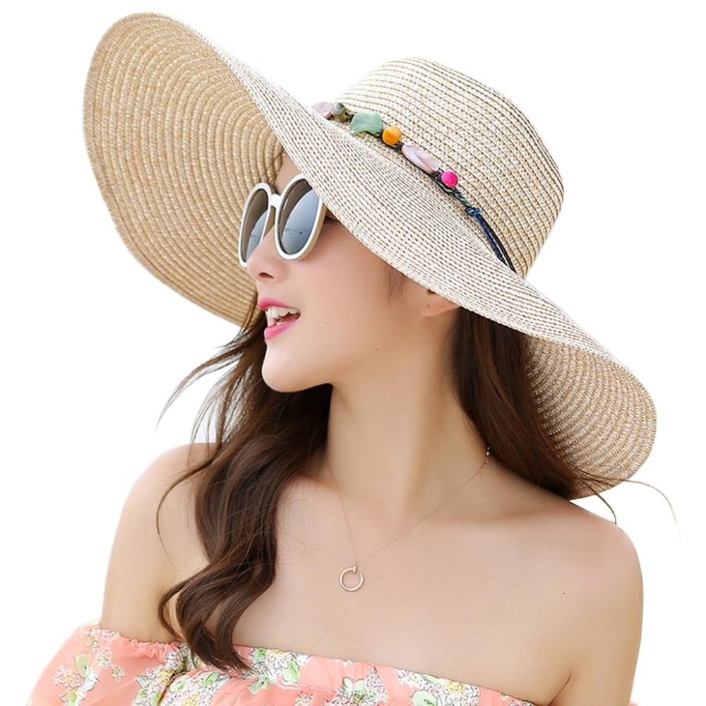 Women/'s Wide Brim Straw Derby Cap Floppy Summer Beach Sun Hat With Chain Band