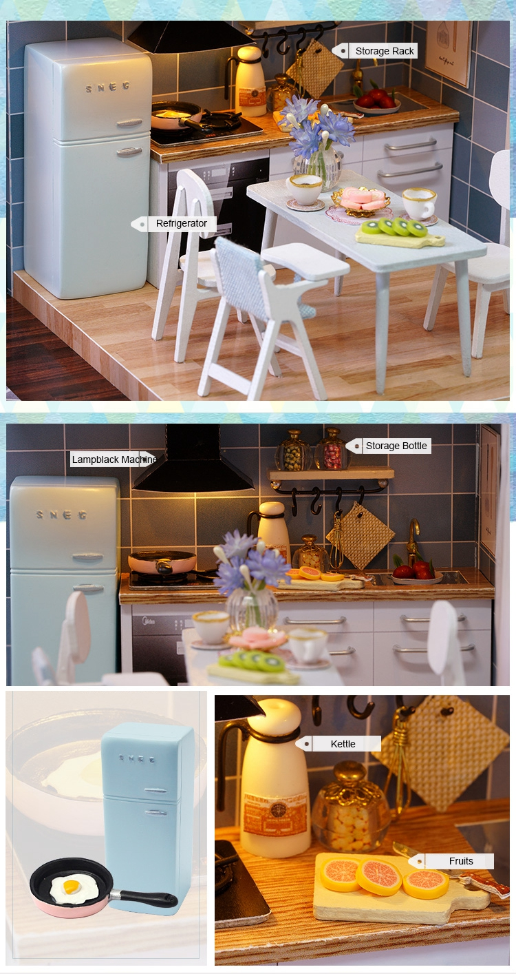 New Arriving DIY Miniature Model Dollhouse Blue Time With Furnitures LED 3D Wooden House Toys Handmade Best Gifts For Children (2)
