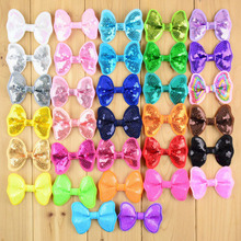 "DHL 300pcs/lot Fluorescent colors Size 2.5"" Sequined embroidered DIY hair accessories Kids Small bow tie Boutique Bows for hair"