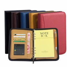 A5 A6 B5 Leather Notebook Spiral Personal Dairy Zipper Planner Organizer Notepad Travel Agenda Manager PadfolioFolder Calculator