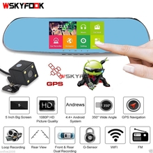 "5"" Android WIFI GPS Dual Lens 1080P HD Navigation Rear View Mirror Dash Camera CAR DVR Recorder"
