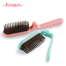 Kinepin Pocket Folding Hair Brush Comb Portable Collapsible Travel Essentials Scalp Massage Plastic Hair Comb Brush Hairdressing(China)